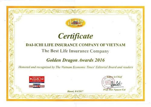 Dai-ichi Life Việt Nam 9 năm liền nhận giải thưởng Rồng Vàng