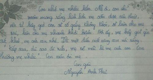 Bức thư xúc động gửi mẹ đã khuất của nữ sinh lớp 9 - ảnh 7