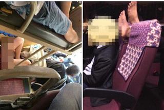 Thiếu nữ mặc váy ngắn trên xe khách và hành động gác chân lên ghế gây bức xúc
