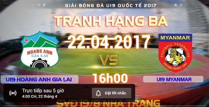 Link xem trực tiếp U19 HAGL vs U19 Myanmar 16h00 ngày 22/4