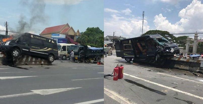 Xe khách đâm xe tải rồi bốc cháy, nhiều người bị thương