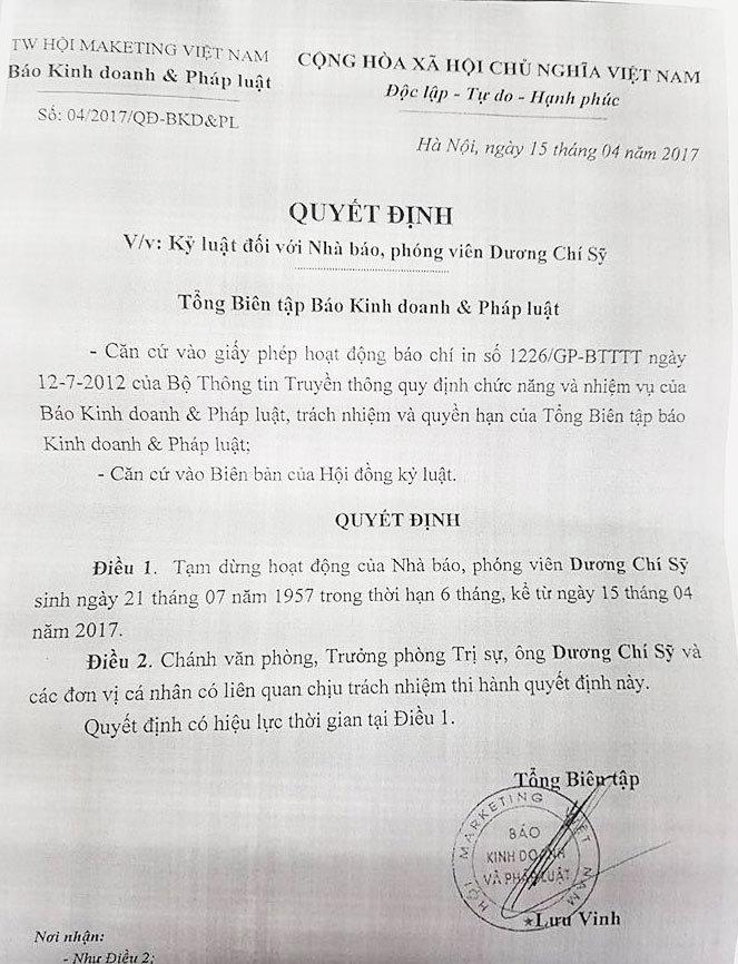 Dọa trường học, nhà báo bị dừng công tác 6 tháng
