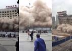 Khách bộ hành chạy toán loạn khi nhà cao tầng bị đánh sập