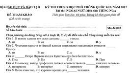 Đề thi tham khảo môn Tiếng Nga kỳ thi THPT quốc gia 2017