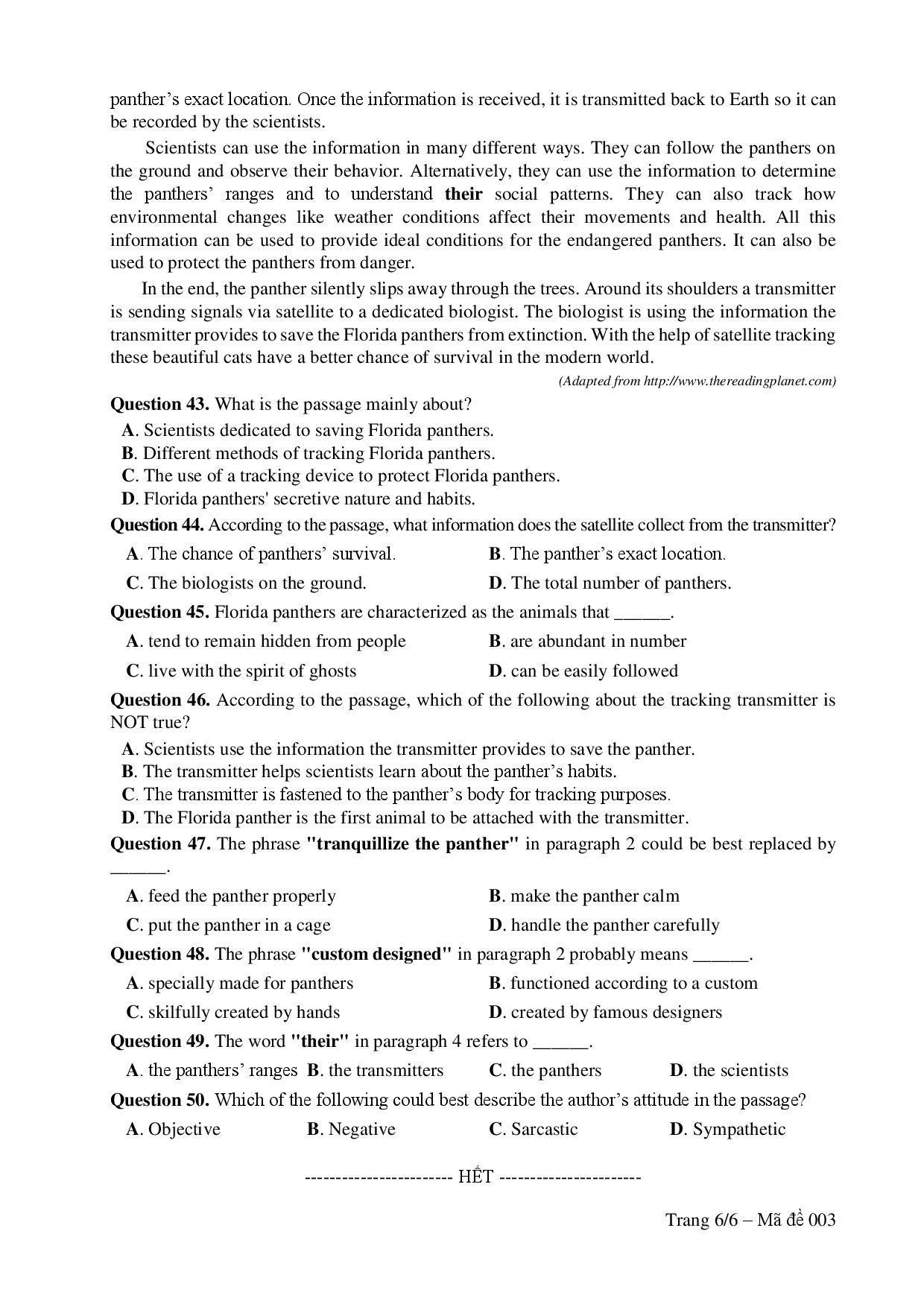 Đề thi tham khảo môn Tiếng Anh kỳ thi THPT quốc gia 2017