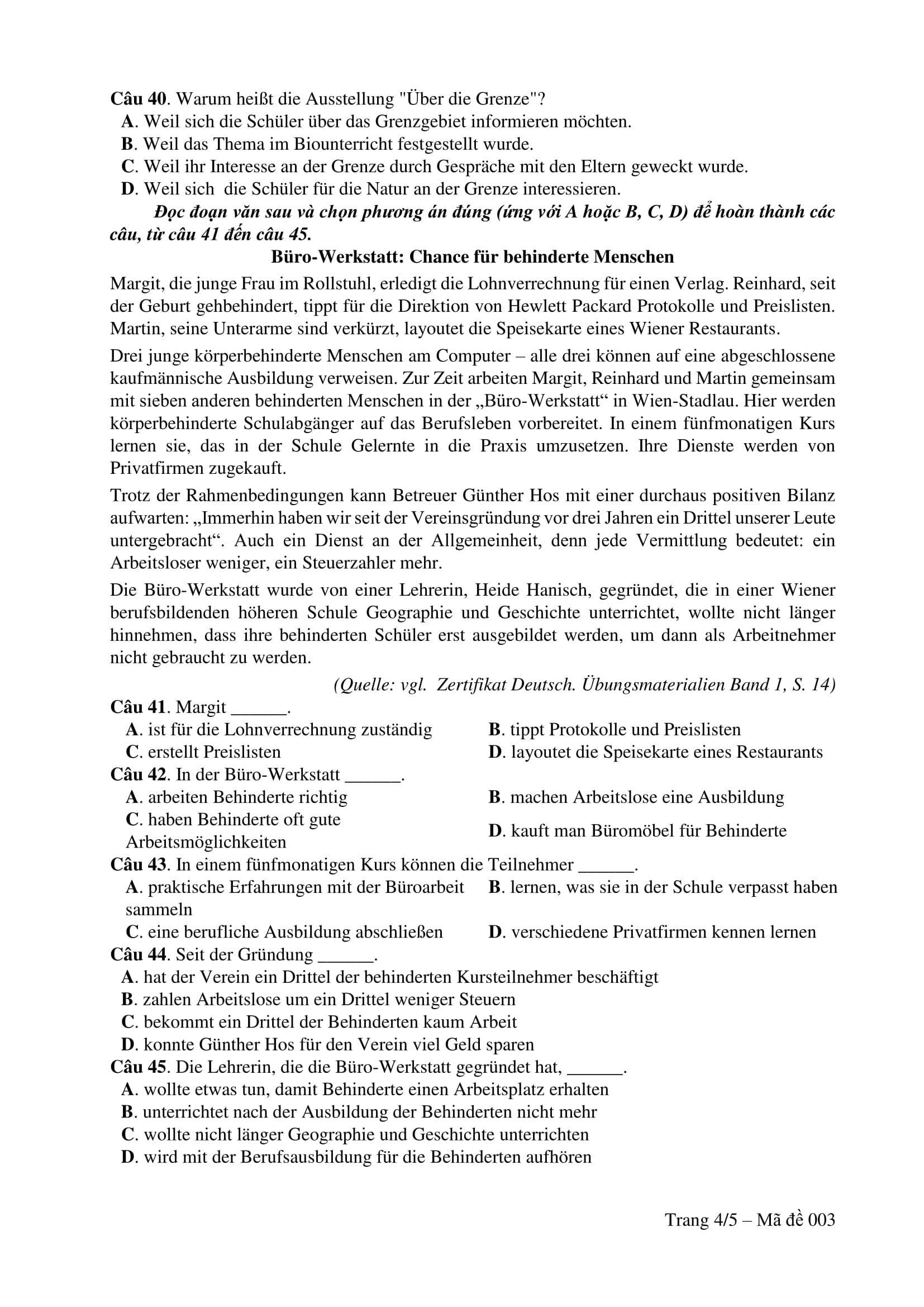 Đề thi tham khảo môn Tiếng Đức kỳ thi THPT quốc gia 2017