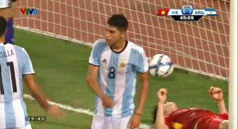 U22 Việt Nam 0-3 U20 Argentina phút 45'+1 goal