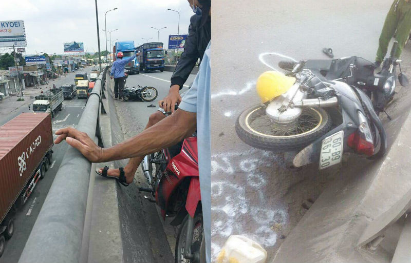 Ô tô bỏ chạy khi đâm người đi xe máy rơi xuống cầu vượt