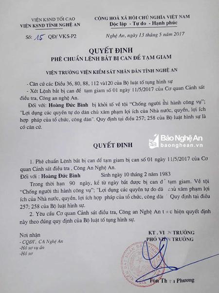 Nghệ An: Bắt tạm giam đối tượng Hoàng Đức Bình