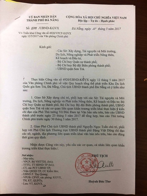 Bán đảo Sơn Trà, tâm thư gửi Thủ tướng, Phó thủ tướng, Vũ Đức Đam, Huỳnh Đức Thơ