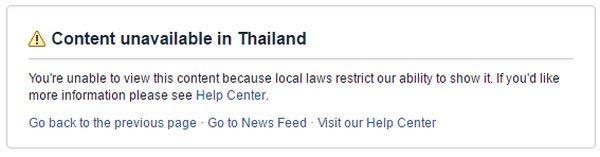 Facebook,Thái Lan,chặn truy cập