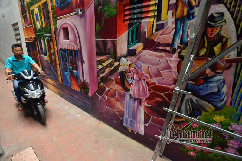 Ngõ nhỏ cũ kỹ ở Hà thành đẹp lung linh nhờ tranh 3D - ảnh 11