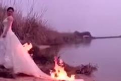Cô dâu đốt váy tạo dáng chụp ảnh cưới 'độc' gây xôn xao