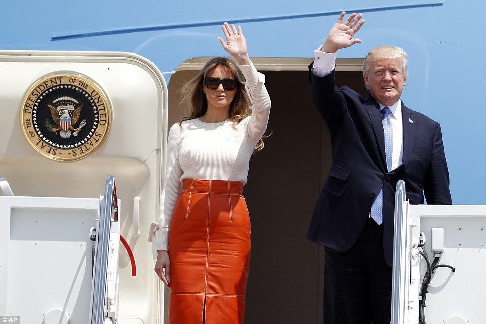 Hình ảnh ông Trump lần đầu rời Nhà Trắng công du nước ngoài