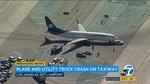 Máy bay húc lật xe tải, 8 người bị thương