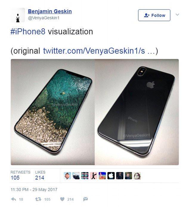 Ảnh mới rò rỉ lộ thiết kế trong mơ của iPhone 8