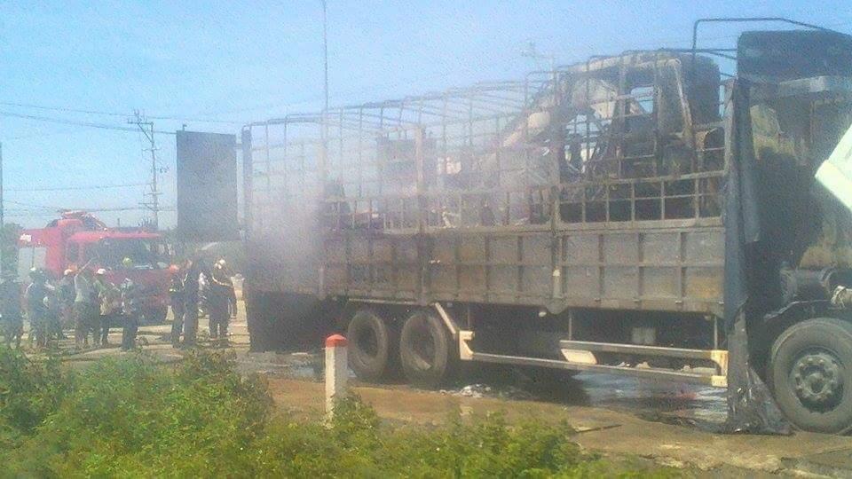 Tài xế chạy xe tải bốc cháy ngùn ngụt tránh đường điện cao thế