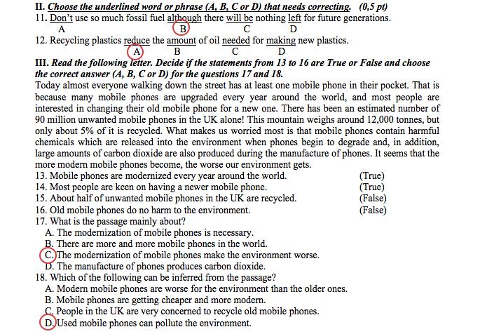 Đề thi và đáp án môn Tiếng Anh lớp 10 của TP.HCM