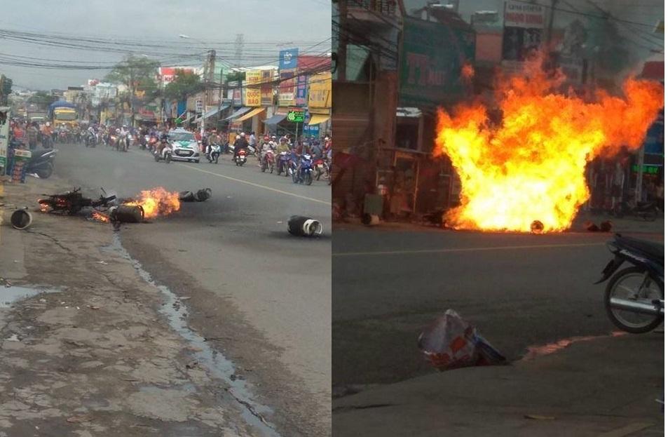 7 bình ga phát nổ giữa đường, dân bỏ chạy tán loạn
