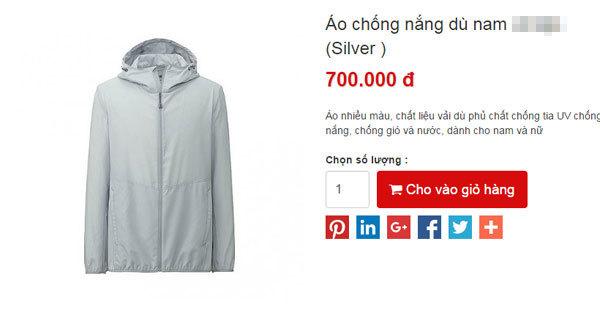 chiếc áo chống nắng uniqlo 1 triệu đồng cho nam