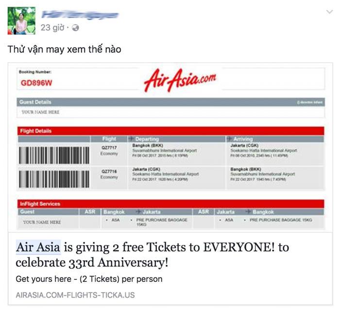 Nhiều Facebooker Việt 'ăn quả lừa' vì tham vé máy bay miễn phí