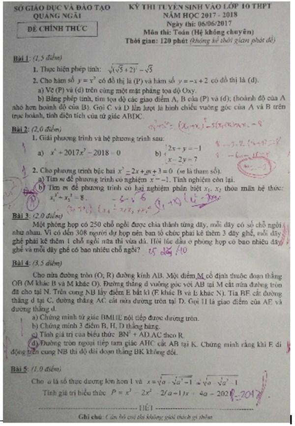 Đề thi và đáp án môn Toán tuyển sinh lớp 10 của Quảng Ngãi