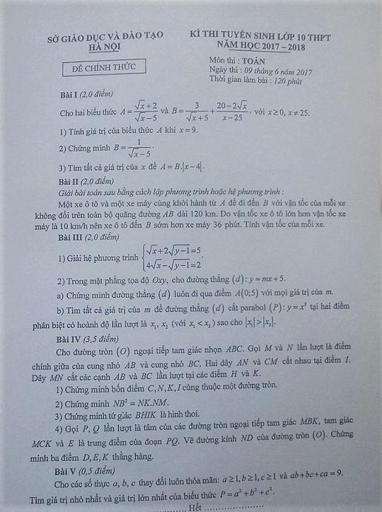 Đề thi và đáp án tham khảo môn toán vào lớp 10 ở Hà Nội