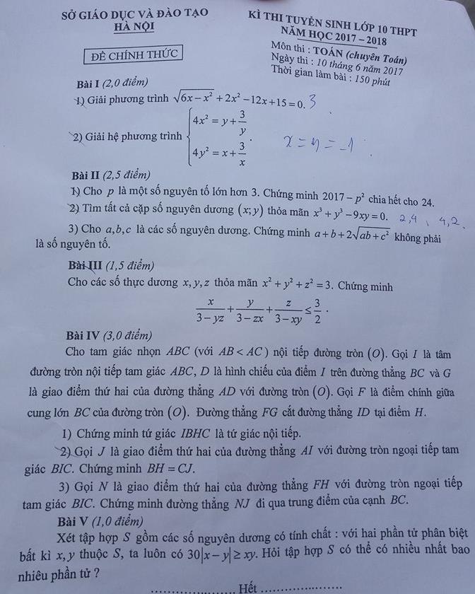 thi lớp 10, tuyển sinh lớp 10, đề thi môn toán, đề thi môn toán khối chuyên