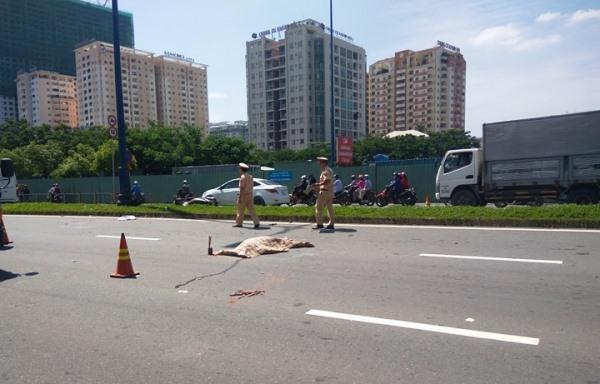 Văng khỏi xe hơn 10m, người phụ nữ bị xe tải tông chết