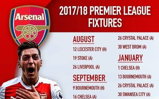 Lịch thi đấu của Arsenal mùa giải 2017/18