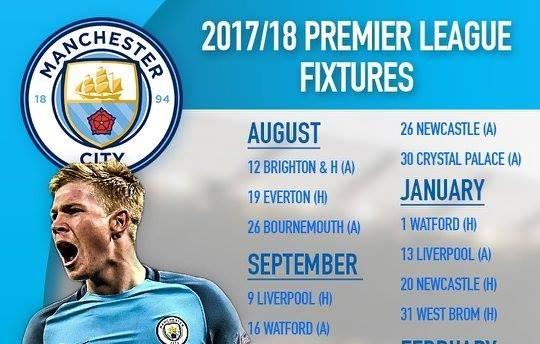 Lịch thi đấu của Man City mùa giải 2017/18