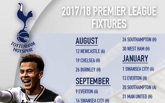Lịch thi đấu của Tottenham mùa giải 2017/18