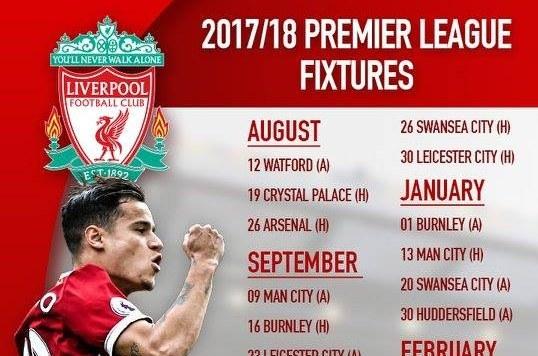 Lịch thi đấu của Liverpool mùa giải 2017/18