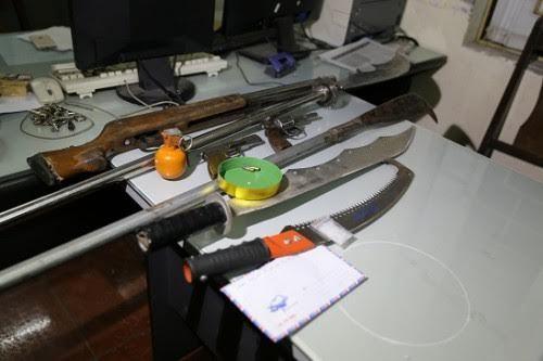 Kho súng, lựu đạn của nghi can buôn ma túy