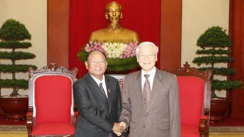Tổng bí thư tiếp Chủ tịch Quốc hội Campuchia