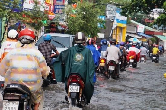 mưa lớn, ngập nặng, ngập nước, đường Nguyễn Văn Quá, Sài Gòn