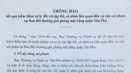 Một loạt nguyên lãnh đạo quận Tân Phú bị kỷ luật
