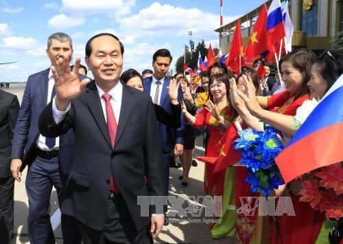 Lễ đón Chủ tịch nước tại sân bay Vnucovo-2