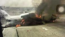 Máy bay lao xuống cao tốc, cháy ngùn ngụt