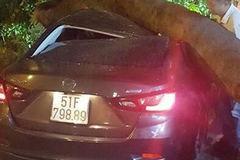 Cây xanh bật gốc giữa khuya đè nát ô tô ở Sài Gòn