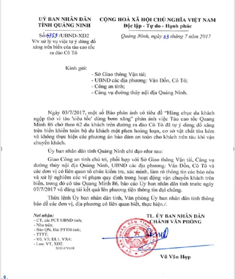 Tàu cao tốc dừng đổ xăng giữa vịnh: Quảng Ninh chỉ đạo kiểm tra