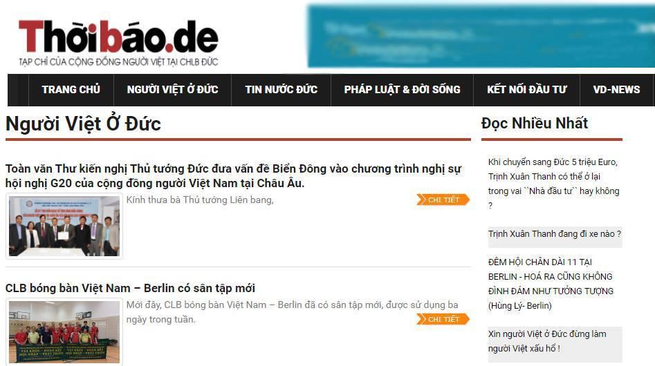 Thoibao.de đăng tải nhiều thông tin xuyên tạc