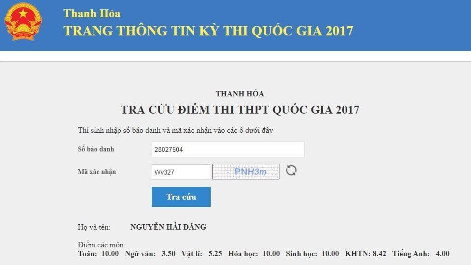 Thanh Hóa có 4 thí sinh đạt 30 điểm thi THPT quốc gia