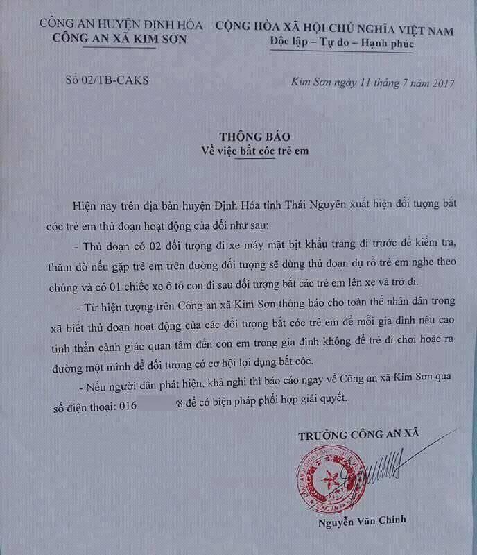 công an, bắt cóc trẻ em, Thái nguyên