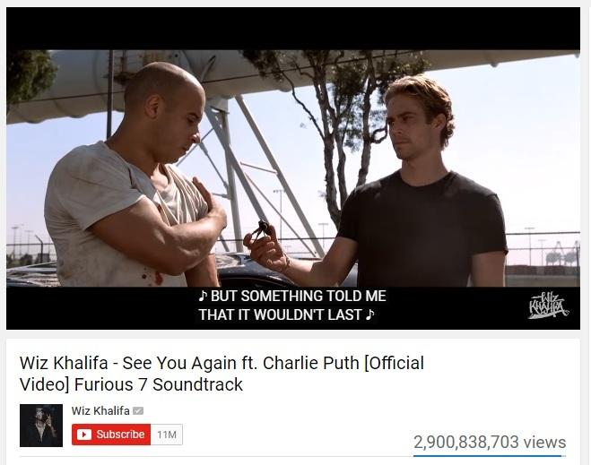 'See you again' lên top YouTube đem lại bao nhiêu tiền cho tác giả?