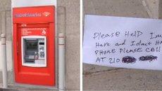Người đàn ông mắc kẹt trong máy ATM, gửi thư cầu cứu qua khe rút tiền