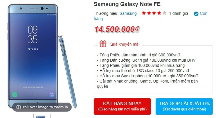 Có tiền cũng không mua nổi Galaxy Note 7 Refurbished tại VN