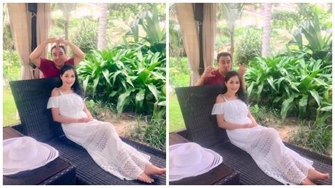 Khoảnh khắc nhí nhố của MC Quyền Linh bên vợ