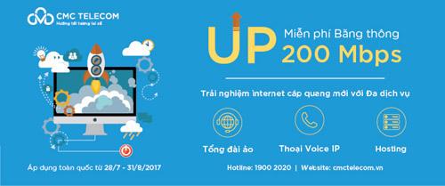CMC miễn phí tăng băng thông Internet cáp quang lên đến 200Mpbs