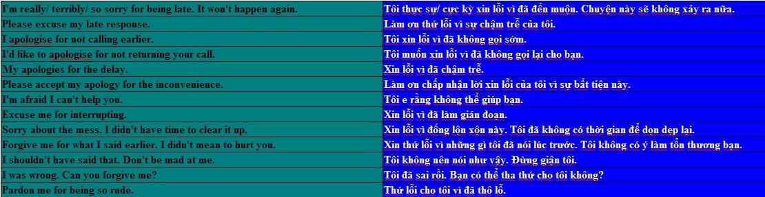 13 cách nói thay cho 'I am sorry'